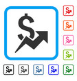 dollar growth framed icon vector image vector image