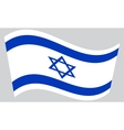 Flag of Israel waving on gray background vector image