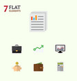 flat icon incoming set of billfold money box vector image vector image