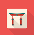 flat style japan gate torii icon with shadow vector image