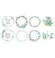 floral frames circle shapes with flowers branches vector image vector image