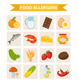 food allergen icon set flat style allergy vector image