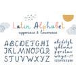 funny childrens latin hand drawn alphabet vector image