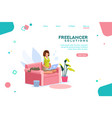 girl freelancer template homepage vector image
