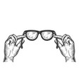 glasses in hands sketch engraving vector image vector image