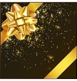 Gold Christmas Bow with confetti on gift box vector image vector image