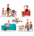 happy fathers day characters vector image