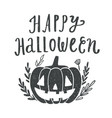 happy halloween scary pumpkin silhouette vector image vector image