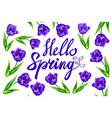Hello spring blue violet tulip card vector image vector image