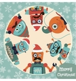 Hipster Retro Robots Christmas Card vector image