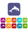 jumping dolphin icons set flat vector image