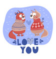 love squirrel valentine cartoon animal set vector image vector image