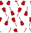 Music seamless pattern with red classic guitars vector image