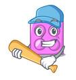 playing baseball toy brick character cartoon vector image vector image