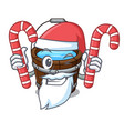 santa with candy wooden bucket mascot cartoon vector image vector image