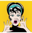 Scared pop art woman vector image vector image