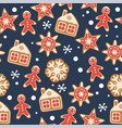 seamless christmas background with gingerbread vector image