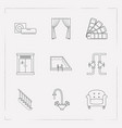 set of design icons line style symbols with vector image