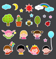 set of kids and cute nature element vector image vector image