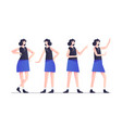 set woman character poses in blue modern style vector image vector image