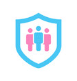 shield with people icon protect human or vector image