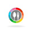 Spoon and fork logo vector image