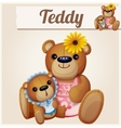 Teddy bears mom and baby Cartoon vector image vector image