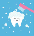 Tooth icon toothbrush with toothpaste bubble foam
