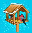 winter bird feeder pop art vector image vector image