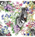 Zebra flowers Seamless pattern vector image