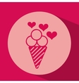 heart red cartoon ice cream icon design vector image