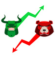 Green Red Bull and bear Traders at stock exchange vector image