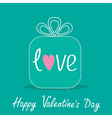 Gift box with word love Dash line Valentines Day vector image