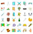 adventure icons set cartoon style vector image vector image