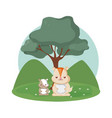 beavers family cute animals cartoons vector image