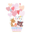 birthday card with cute animals flying on hot air