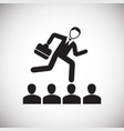 businessman runs on contestants heads on white vector image