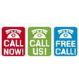 Call now - Call us - Free call vector image vector image