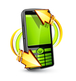 cellphone with arrows vector image