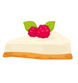 cheesecake with biscuit and raspberry berry on top vector image vector image