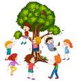 children climbing treee white background vector image vector image
