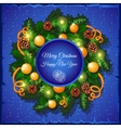 Christmas wreath of fir tree branches and balls vector image vector image