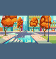 city crossroad in autumn time empty intersection vector image