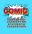 comic alphabet retro pink letters numbers for vector image