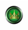 Crown icon gold isolated on green glossy backgrou vector image vector image