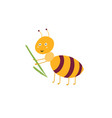 cute ant carries a blade grass isolated element vector image vector image