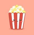 cute popcorn in red bucket box cartoon vector image vector image