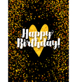 dark happy birthday card with scattered golden gli vector image vector image