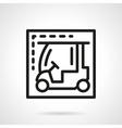 Electric golf car black line icon vector image vector image