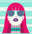 fashion woman with sunglasses art portrait flat vector image vector image
